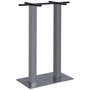 ITG Tischgestell Edelstahl gebürstet Doppelsäule hoch